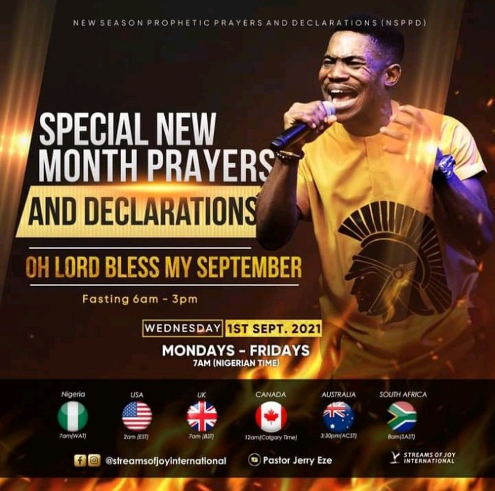 Live Jerry Eze New Month Prophetic Prayers 1 September 2021 @7am