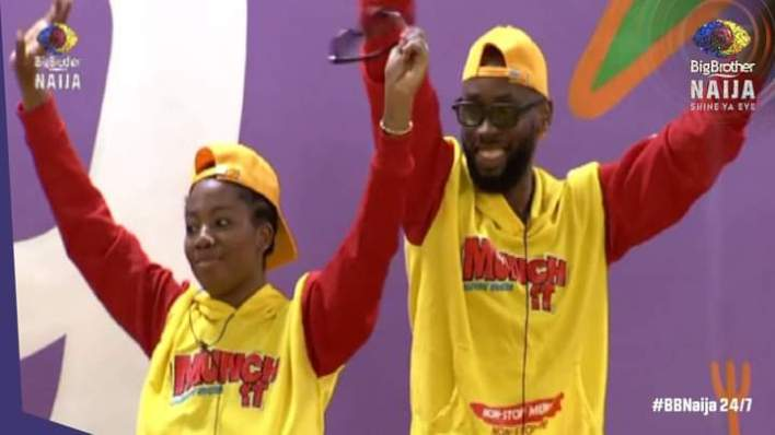 BBNaija Emmanuel and Angel Are N750k Richer After 'Munch It' Task