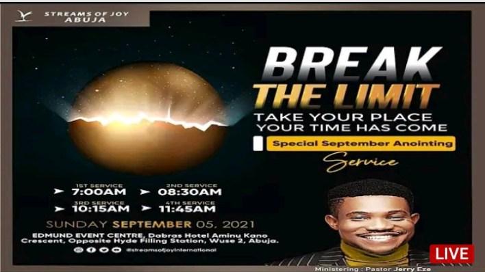 Live Jerry Eze Sunday Service 5th September 2021 |BREAK LIMITS|