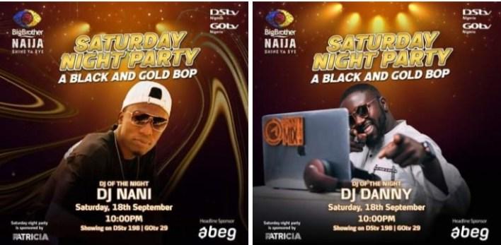 BBNaija Live Saturday Night Party 18 September 2021 - DJs Nani and Danny