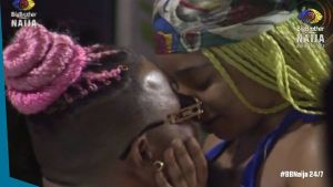 BBNaija Whitemoney Locks Lip With Queen After Jacuzzi Party
