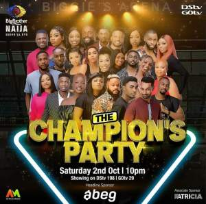 Live BBNaija Saturday Night Party 2 October 2021 - The Champions