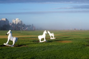 A memorial to the rescue of White Horse Scotch from a ship wreck