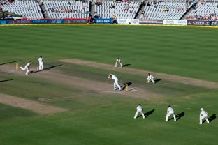 The last ball of the 3rd test match. Won by Australia.