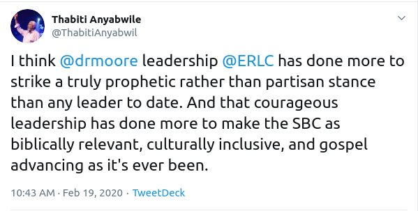 I think  @drmoore  leadership  @ERLC  has done more to strike a truly prophetic rather than partisan stance than any leader to date. And that courageous leadership has done more to make the SBC as biblically relevant, culturally inclusive, and gospel advancing as it's ever been.