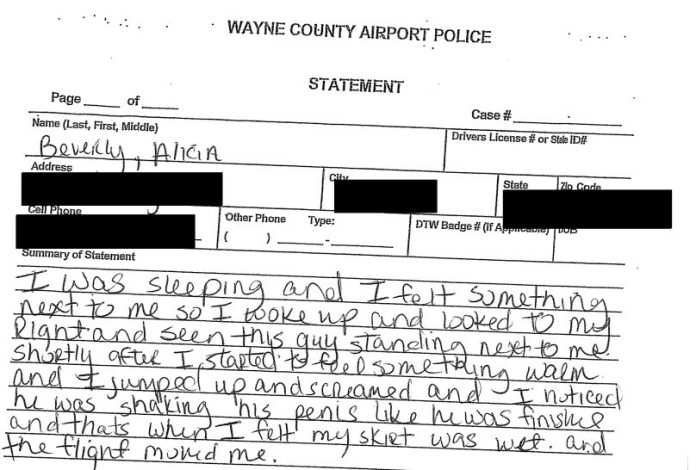 Alicia Beverly, police report statement that man urinated on her on Delta flight.