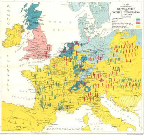Map Showing the Reformation and Counter-Reformation (1520-1580)