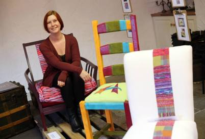Michelle McCarroll and her chair for Tommy Hilfiger