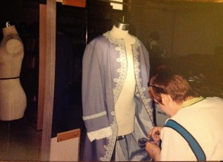 Me working on a costume in the costume shop in college.