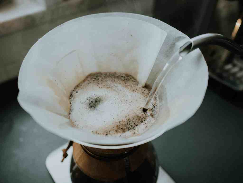 Pour water on coffee