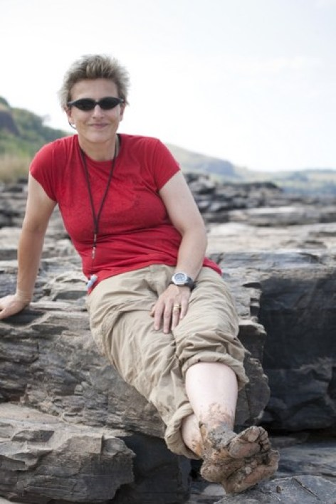 Dr. Melanie Stiassny on the banks of the Congo River