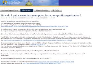 PA Sales Tax Exemption Form Thumbnail