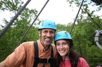 Aerial Zipline Father Daughter Kingdom Summer