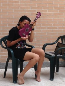 Dominique and her new ukulele