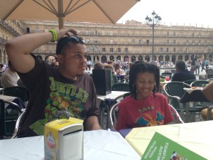 taking in a meal on the Plaza Mayor