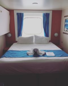 Our stateroom aboard the Norwegian Jewel.