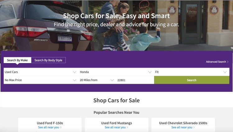 Buy from dealerships or private owners through Cars.com
