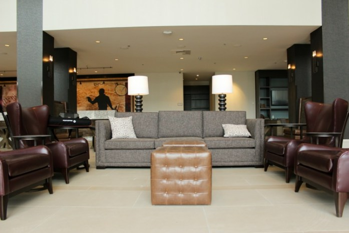A contemporary look and feel in the lobby of Hotel Madison.