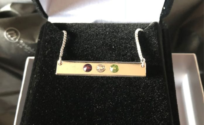 This pretty birthstone piece from Messages in Metal represents our three wonderful kiddos!