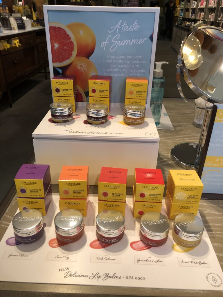 Lip balms and scrubs from L'Occitane Photo credit: Dee Dean