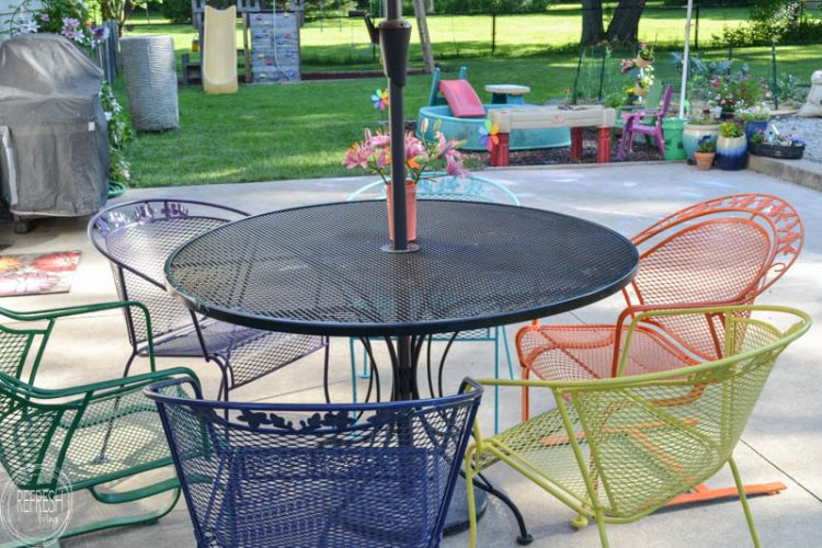 old metal chairs steel chair shop near me how to paint lawn furniture refresh living i love the multi colored it s amazing an patio set