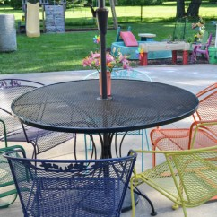 Iron Outdoor Chairs Glider Rocking Chair Cushion Covers How To Paint Metal Lawn Furniture Refresh Living