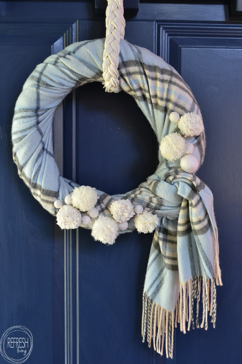 Winter Wreath from an Old Scarf  Refresh Living