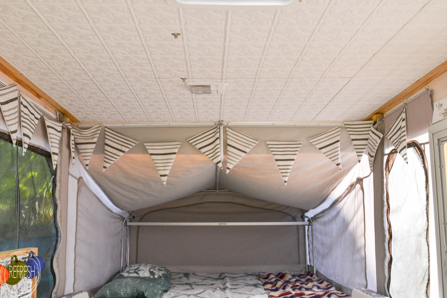Fall Ceiling Wallpaper Pop Up Camper Remodel Giving The Ceiling A Facelift