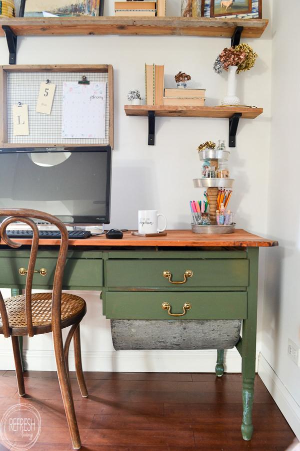vintage modern boho home office with green desk natural