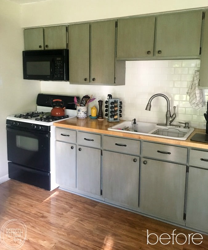 reface kitchen cabinets with wood doors before  Refresh