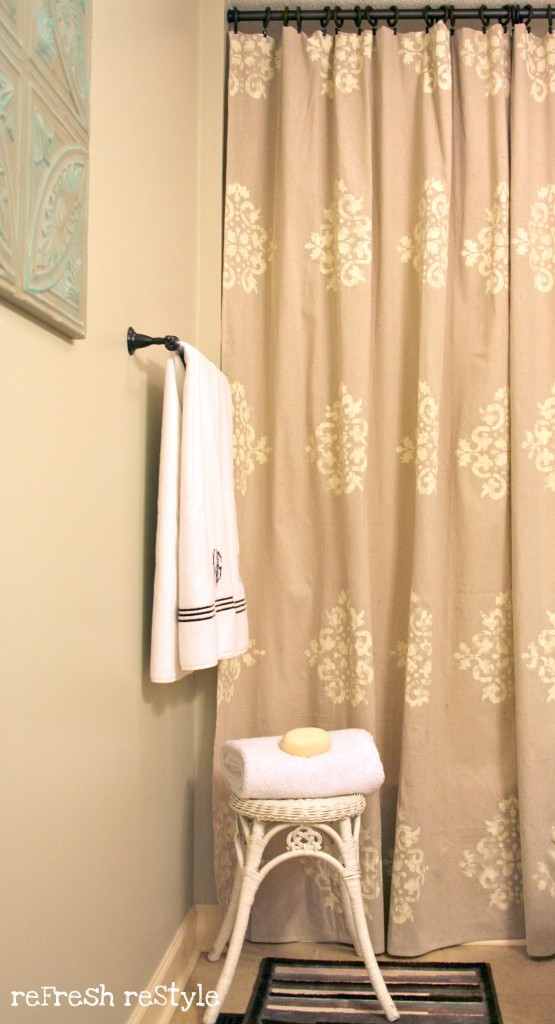 How to paint a shower curtain, made from a drop cloth!