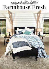 Farmhouse Bedroom Navy + White | Refresh Restyle