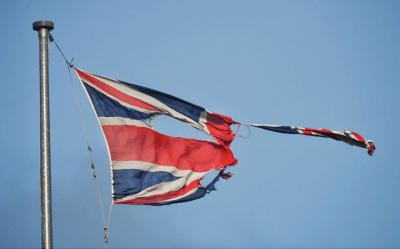 Union flag torn