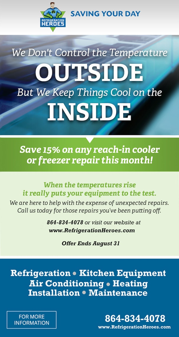 Promotions at Refrigeration Heroes | Greenville Refrigeration | Commercial Refrigeration Services Greenville, SC