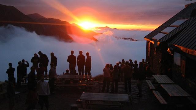 coucher de soleil au refuge
