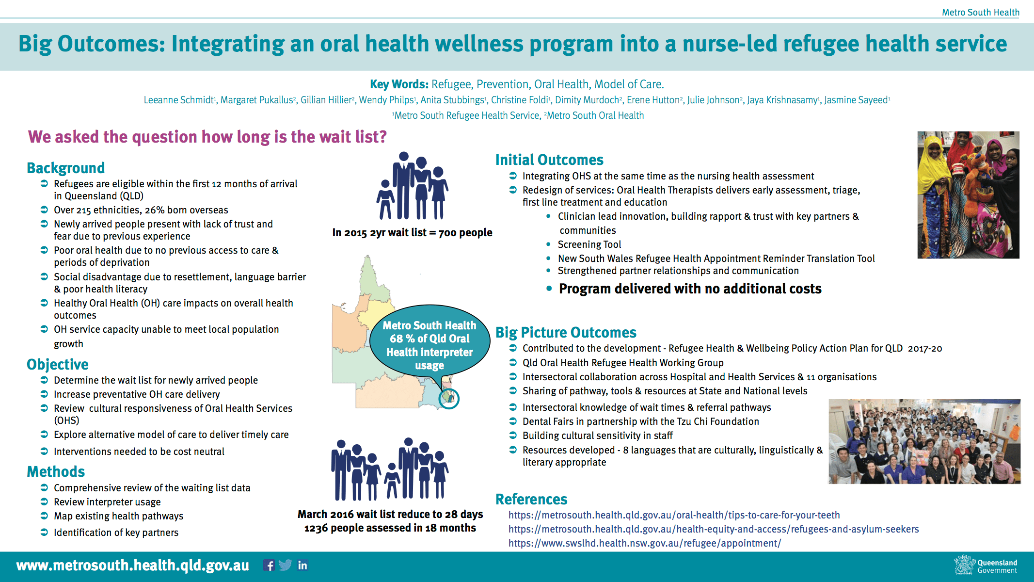 Metro South Refugee Health Service poster: Integrating Oral Health wellness into a nurse-led Refugee Health Service