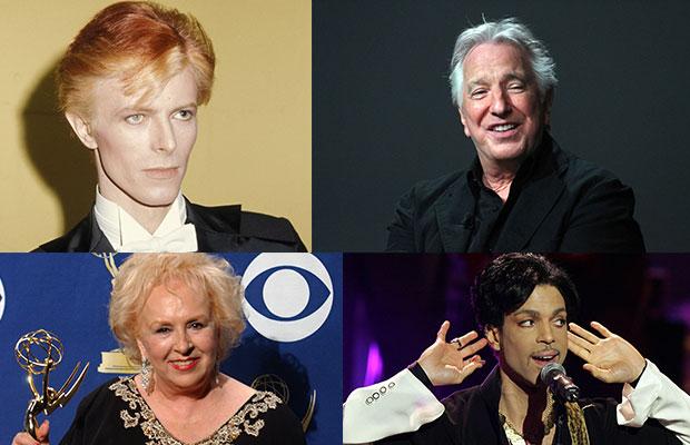 David Bowie, Alan Rickman, Doris Roberts, Prince