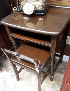 vintage phone table and chair