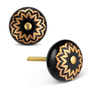 black and gold ceramic knob