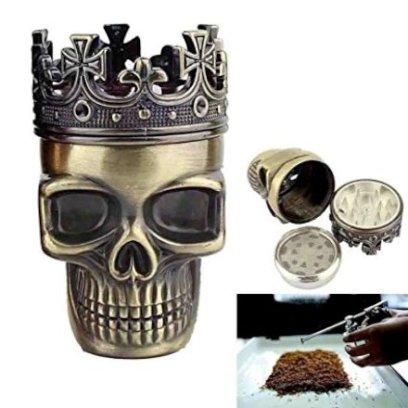 Gadget Regali per uomo  MacininomacinaaformadicranioincoronatoPertabacco-Regalo Macinino a forma di cranio incoronato by RIVENBERT