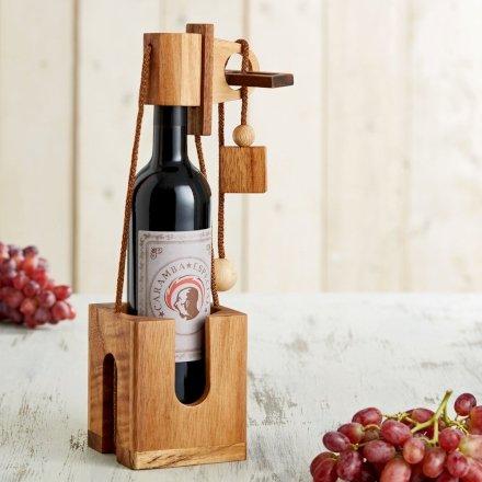 Casa & Ufficio  RompicapoinLegnoScuroperBottigliediVino-Confezione-Regalo Rompicapo in Legno con Bottiglia di Vino