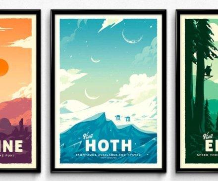 Casa & Ufficio Gadget  StarWarsRetroTravelPosters-Regalo Poster Mondi di Star Wars