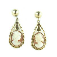 Vintage 14k Gold And Shell Cameo Pierced Earrings