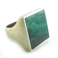 Vintage Chunky Heavy Sterling Silver Malachite Mens Ring 6.5