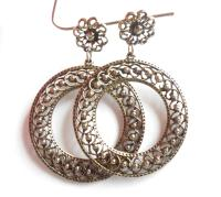 Large Vintage Fancy Silver Filigree Hoop Earrings Antique