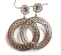 Large Vintage Fancy Silver Filigree Hoop Earrings Antique ...