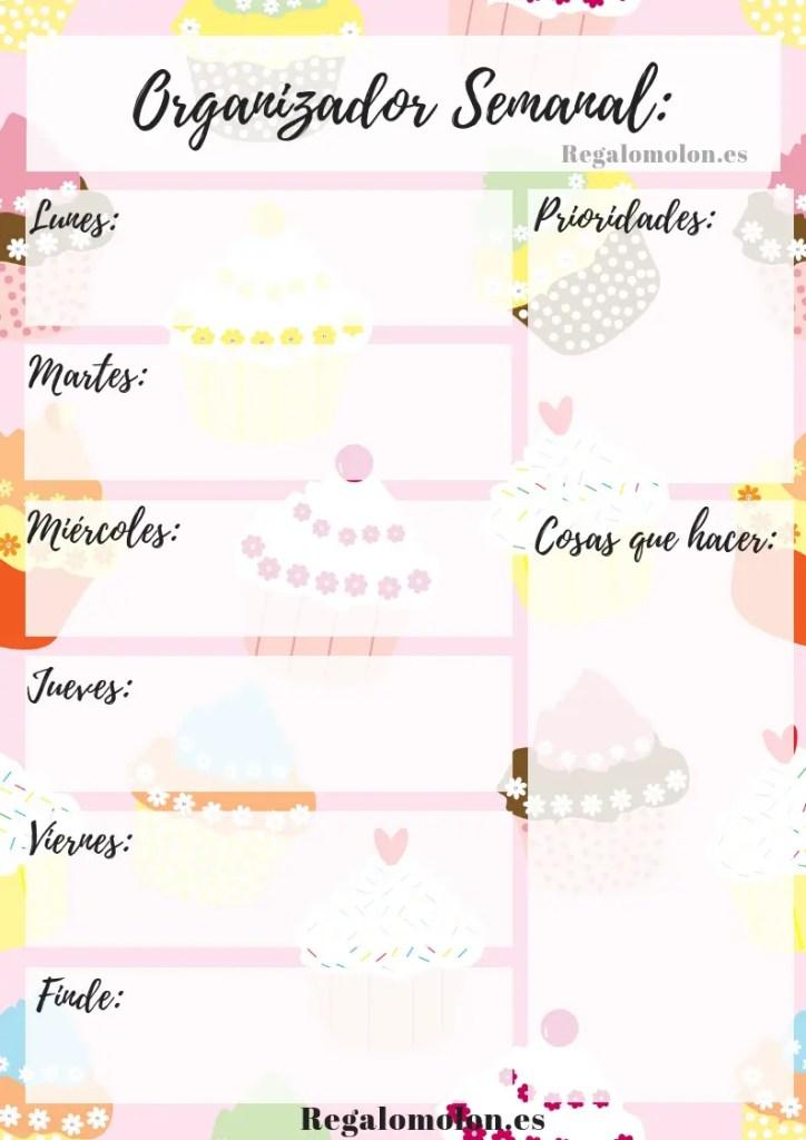 Planificador semanal estilo cupcake.