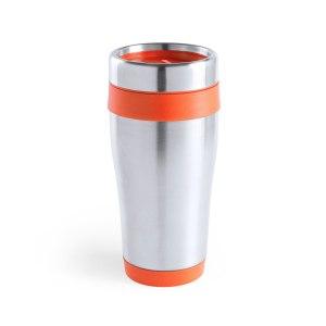 Vaso de acero inox personalizado de 450ml de capacidad con cuerpo de acabado brillante con accesorios a juego y en vivos colores. Con tapa dosificador.