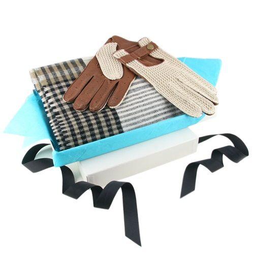 Set de lujo de guantes de conducir y  bufanda de cachemira