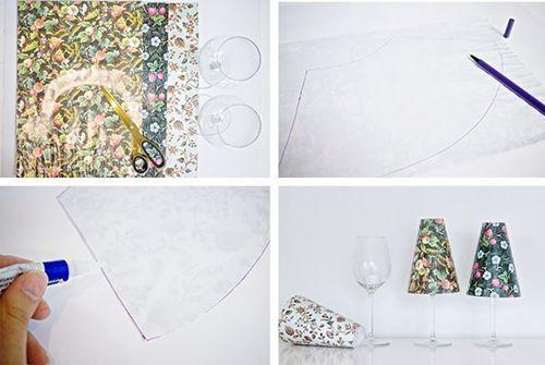hacer pequeas lmparas de mesa con copas y pantallas de papel